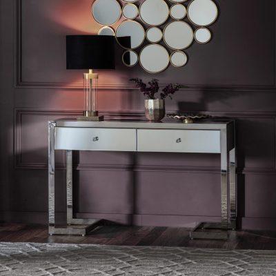 Bath Mirrored Console Table in Silver Image 2