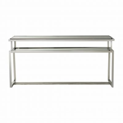Bellizzi Metal Console Table in Silver