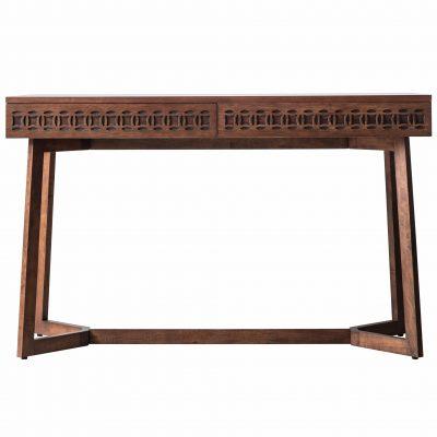 Boi Mango Wood 2 Drawer Desk in Brown