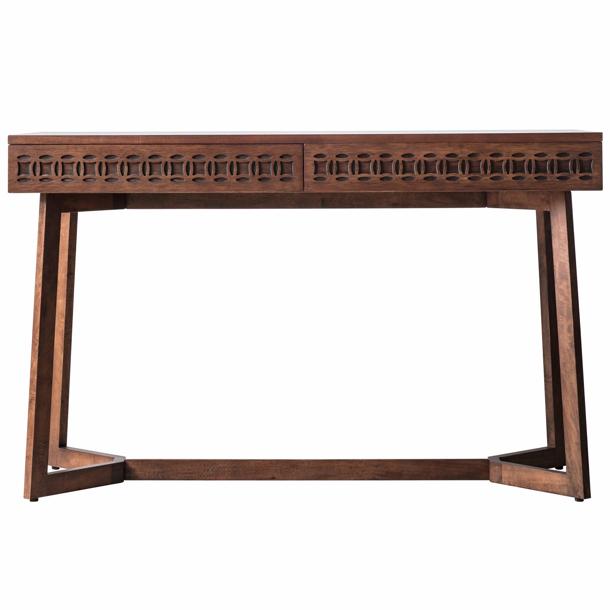 Image of Boi Mango Wood 2 Drawer Desk - Brown