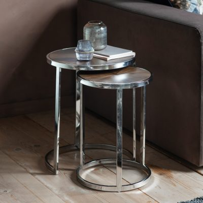 Bourton Metal Nest of 2 Tables in Silver