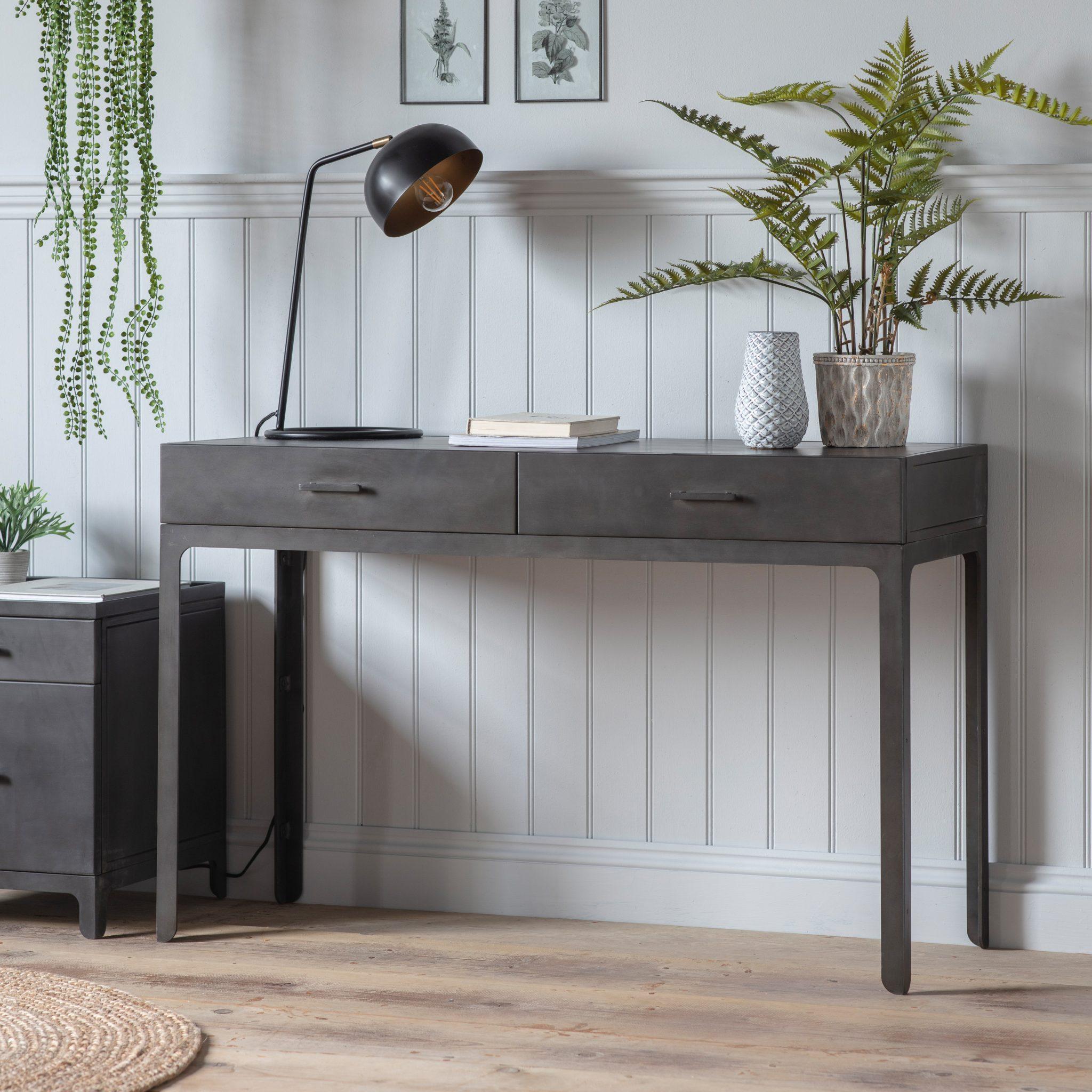 Image of Brook Wood 2 Drawer Desk - Grey