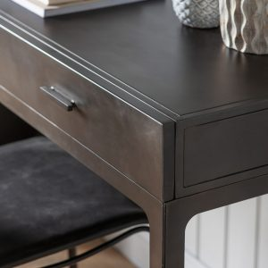 Brook Wood 2 Drawer Desk in Grey