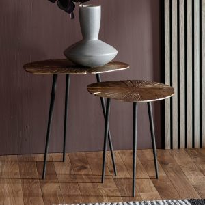 Burgess Metal Nest of 2 Tables in Gold