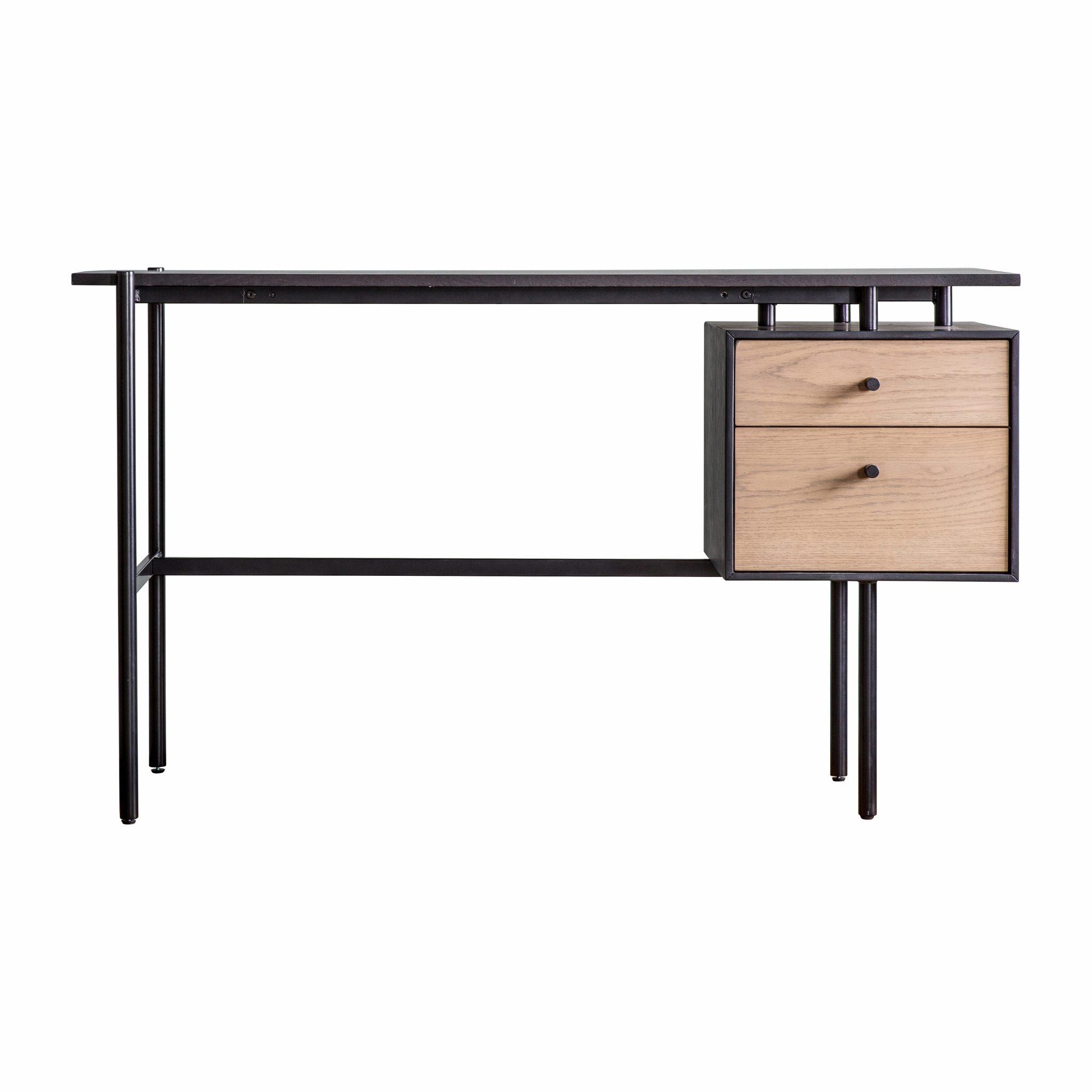 Image of Cadbury Light Wood 2 Drawer Desk - Black