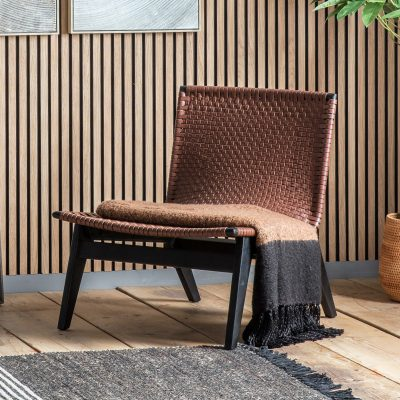 Camas Leather Lounger Chair in Brown