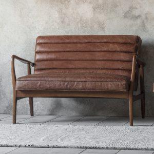 Dachia Leather 2 Seater Sofa in Brown