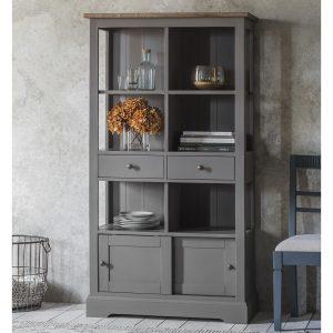 Dean Acacia Wood Bookcase in Grey Image 2