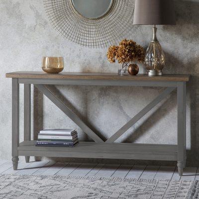 Dean Acacia Wood Trestle Sideboard in Grey
