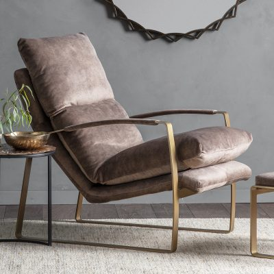 Dele Fabric Lounger Chair in Brown