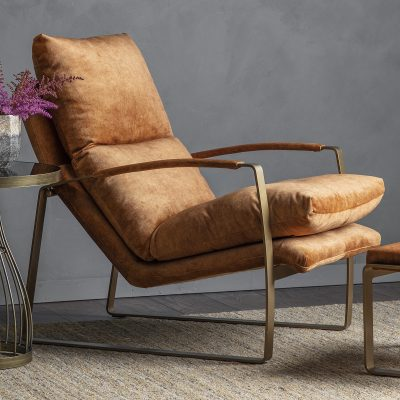 Dele Fabric Lounger Chair in Ochre