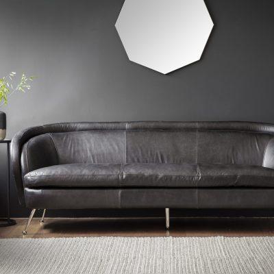 Desirea Leather 3 Seater Sofa in Black