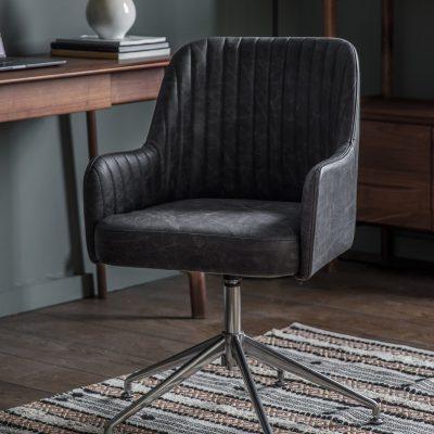 Eddie Leather Swivel Chair in Antique Ebony Grey