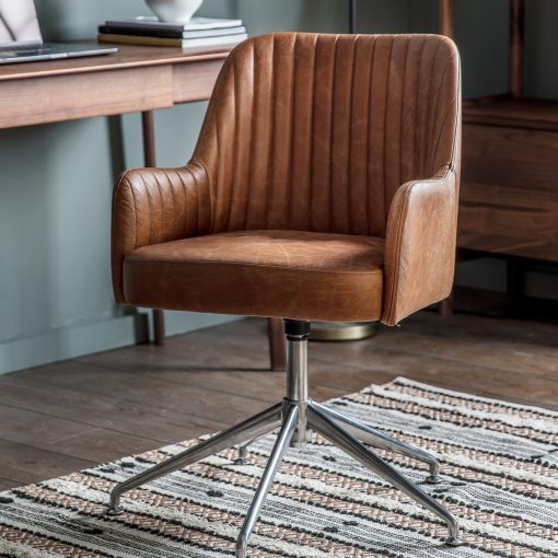 Eddie Leather Swivel Chair in Vintage Brown