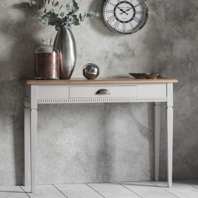 Emily Mahogany 1 Drawer Console Table in Taupe