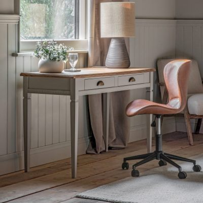Emily Mahogany 2 Drawer Desk in Taupe