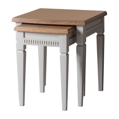 Emily Mahogany Nest of 2 Tables in Taupe