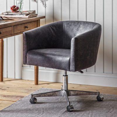 Enrico Leather Swivel Chair in Antique Ebony Grey