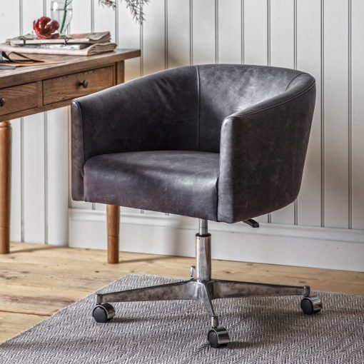 Enrico Leather Swivel Chair in Antique Ebony Grey