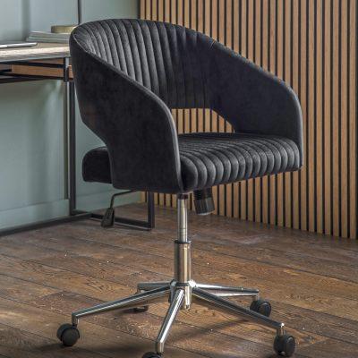 Felix Velvet Swivel Chair in Black
