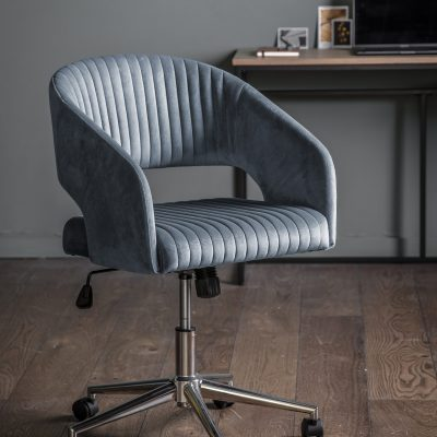 Felix Velvet Swivel Chair in Charcoal Grey