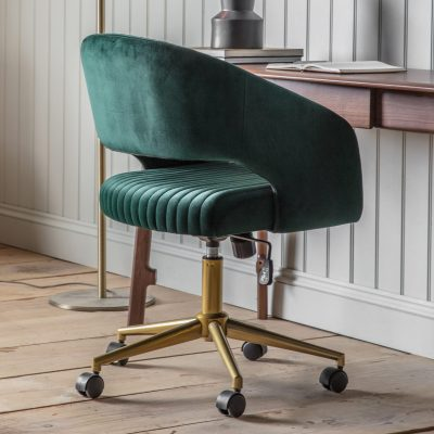 Felix Velvet Swivel Chair in Green