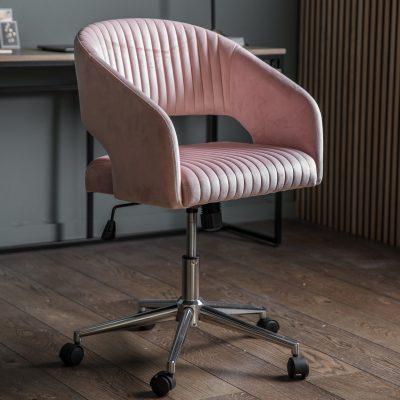 Felix Velvet Swivel Chair in Pink