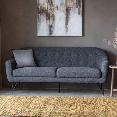 Fjord Fabric 2 Seater Sofa in Black
