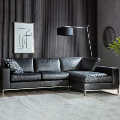 Florence Leather 3 Seater Corner Chaise Sofa in Black