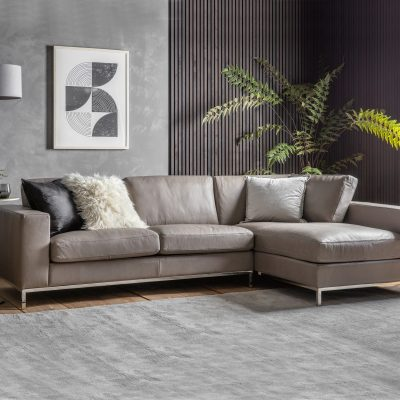 Florence Leather 3 Seater Corner Chaise Sofa in Grey