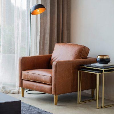 George Leather Armchair in Vintage Brown Image 2
