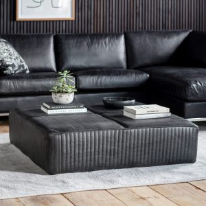 Guston Leather Coffee Table in Black Image 2