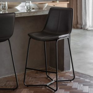 Hawkley Faux Leather Bar Stool in Charcoal (Set of 2) Image 2