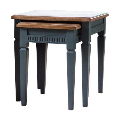 Hellas Mahogany Nest of 2 Tables in Blue