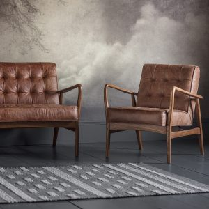 Hemming Leather 2 Seater Sofa in Brown
