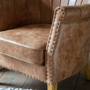 Jackman Leather Armchair in Brown Image 3