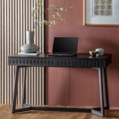 Khaleesi Mango Wood 2 Drawer Desk in Black