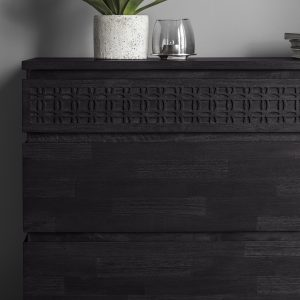 Khaleesi Mango Wood Chest of Drawers in Black Image 3