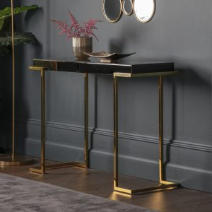 Lana Mirrored Console Table in Black Image 2