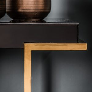 Lana Mirrored Console Table in Black Image 3