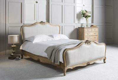 Layla Linen Upholstered King Bed Frame in Weathered Wood