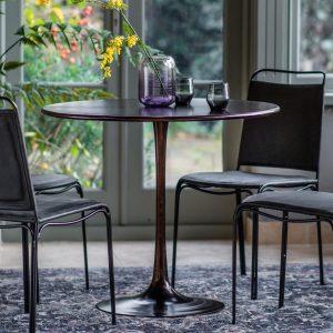 Legan 91cm Metal Round Dining Table in Bronze