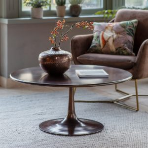 egan Metal Round Coffee Table in Bronze Image 2