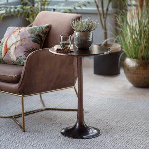 Legan Metal Side Table in Bronze