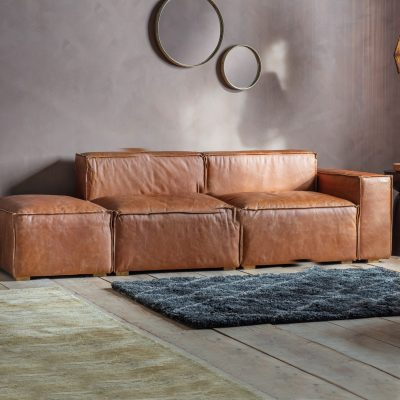 Linden Leather 3 Seater Sofa in Brown