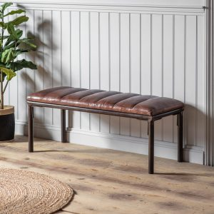 Lurley 120cm Leather Bench in Brown Image 2