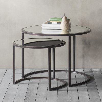 Maine Metal Nest of 2 Coffee Tables in Bronze