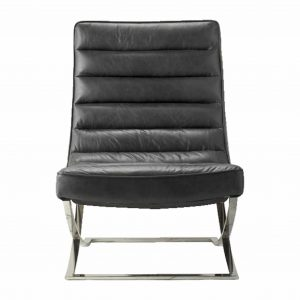 Meka Leather Lounger Chair in Black