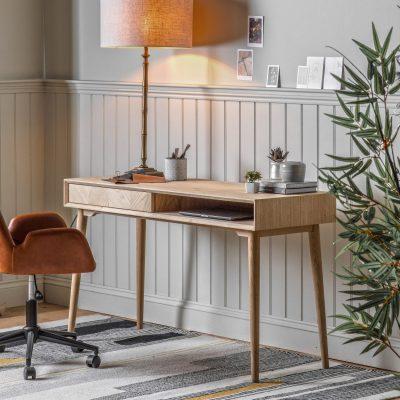 Messina Light Oak 1 Drawer Desk
