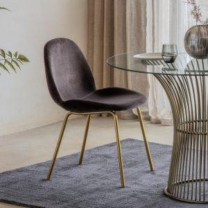 Mickey Velvet Dining Chair in Brown (Set of 2)